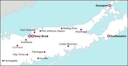 Map of locations available on Long Island, NY